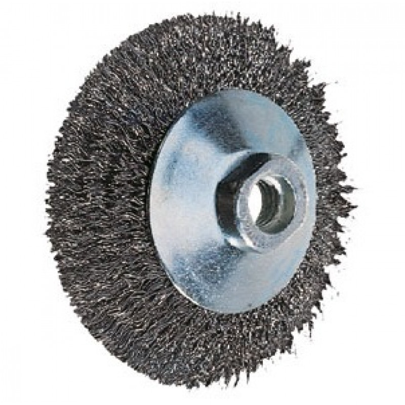 Spazzola conica inox foro filettato filo non ritorto diametro 100, Spazzole in acciaio, pferd | Magnabosco Express - 00025218