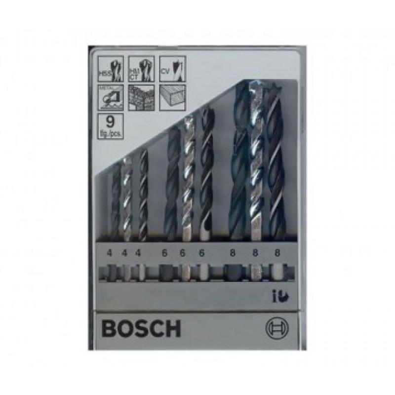 Serie di Punte per Metallo, Legno e Pietra 9 Pezzi da 4 mm a 8 mm, PUNTE E SCALPELLI, bosch | Magnabosco Express - 00158183