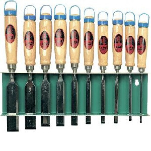 Serie di 10 scalpelli in legno B6056/6
